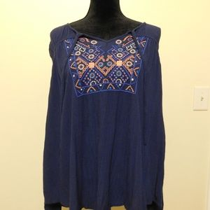 Mossimo | tribal floral peasant top tunic